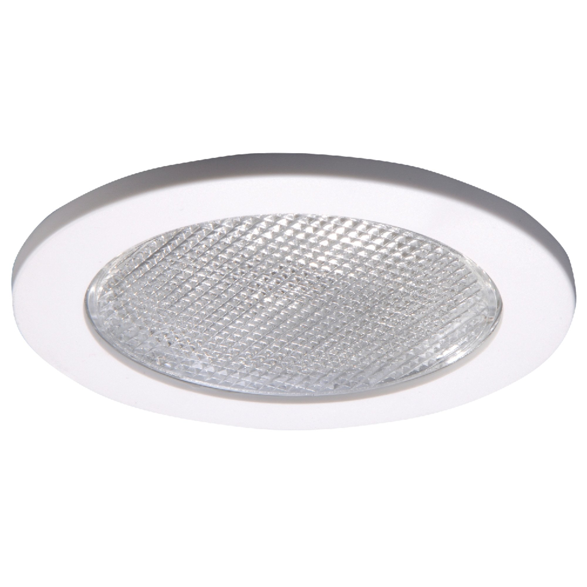 Halo 4055WH E26 Series Recessed Lighting Shower Trim with Prismatic Glass Lens, 4 In, White