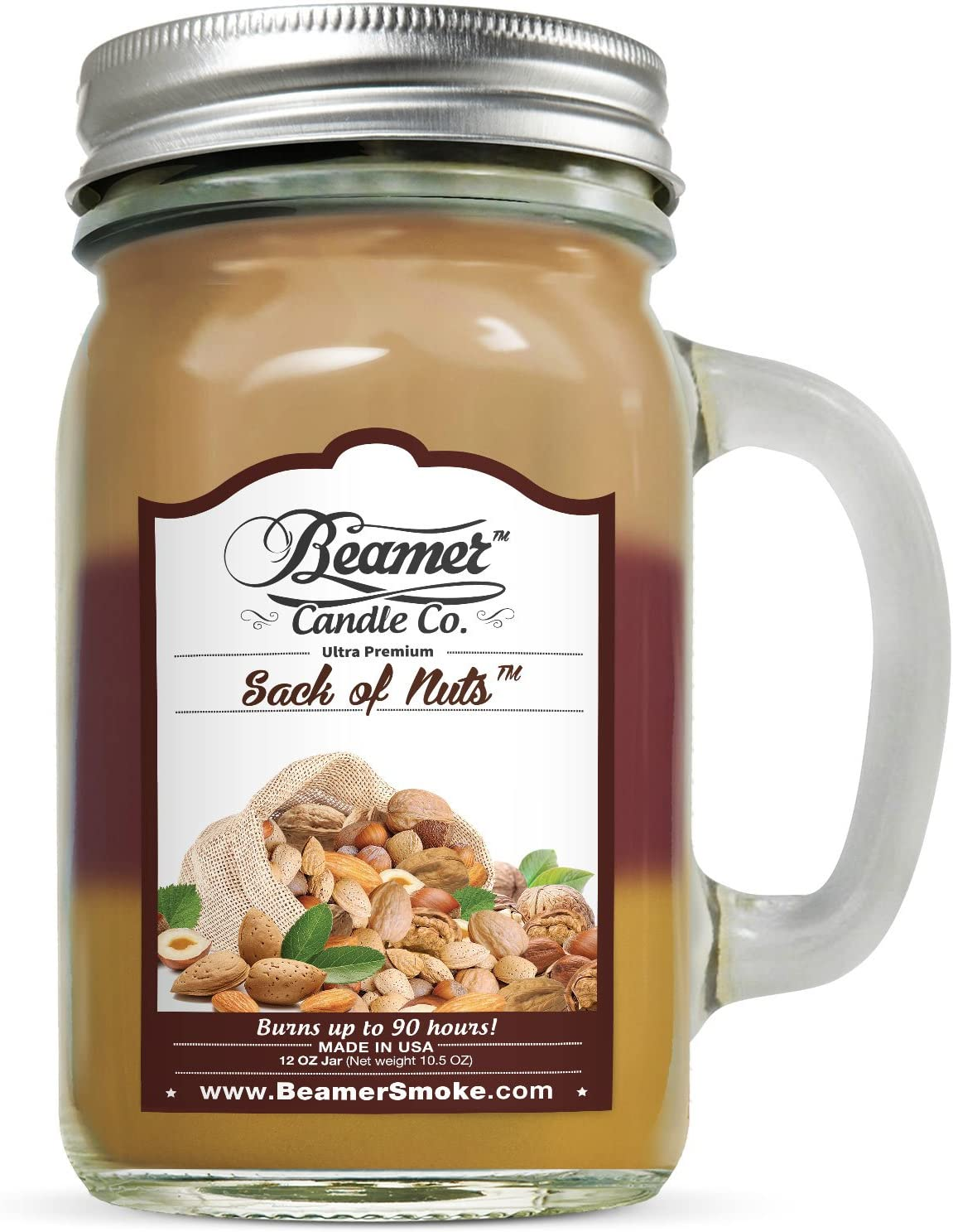 12oz Sack of Nuts Scented Beamer Candle Co 3 Different Scents USA Made Ultra Premium Jar Candle 90 Hr Burn Time