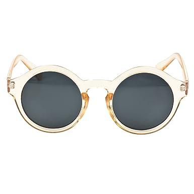 iB-iP Mujer Redondas Gafas De Sol, Beige: Amazon.es: Ropa y ...
