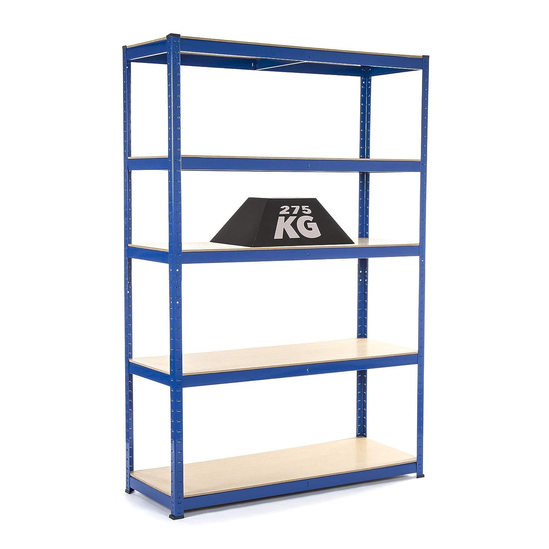 Racking Solutions - Rayonnage / Étagère de Garage / Système de stockage en acier, charges lourdes, capacité de charge totale 1375kg (5niveaux 1800mm H x 1200mm L x 450mm P) + Livraison Gratuite