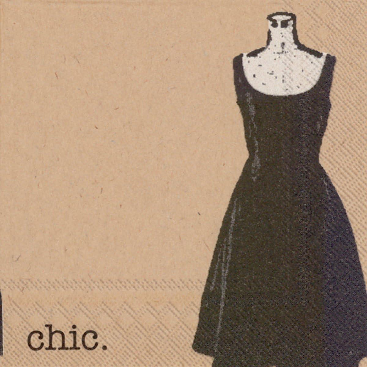 Boston International Ideal Home Range 20-Count Brown Paper Cocktail Napkins, Little Black Dress