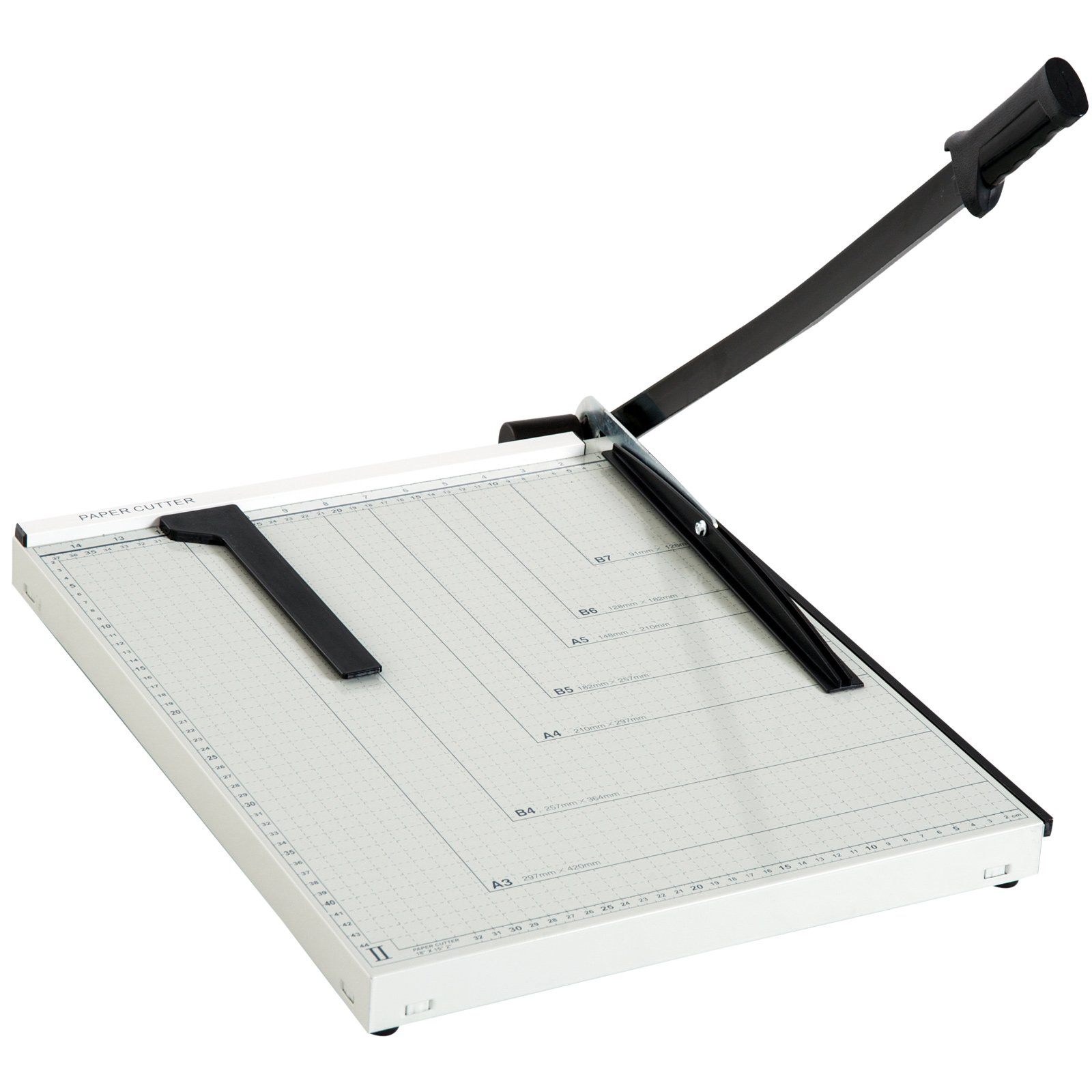 Paper Trimmer Cutter 18'' Cut Length, 12-Sheet Capacity Guillotine Paper Cutter MDF - White/Black
