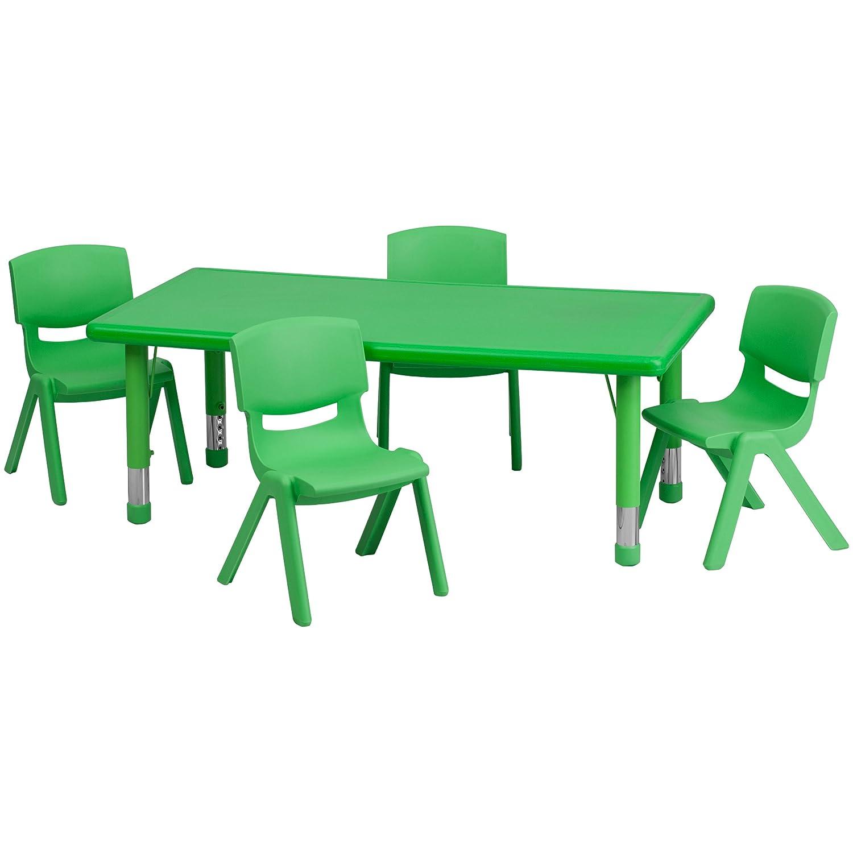 Amazon.com: Flash Furniture 24u0027u0027W X 48u0027u0027L Rectangular Green Plastic Height  Adjustable Activity Table Set With 4 Chairs: Kitchen U0026 Dining