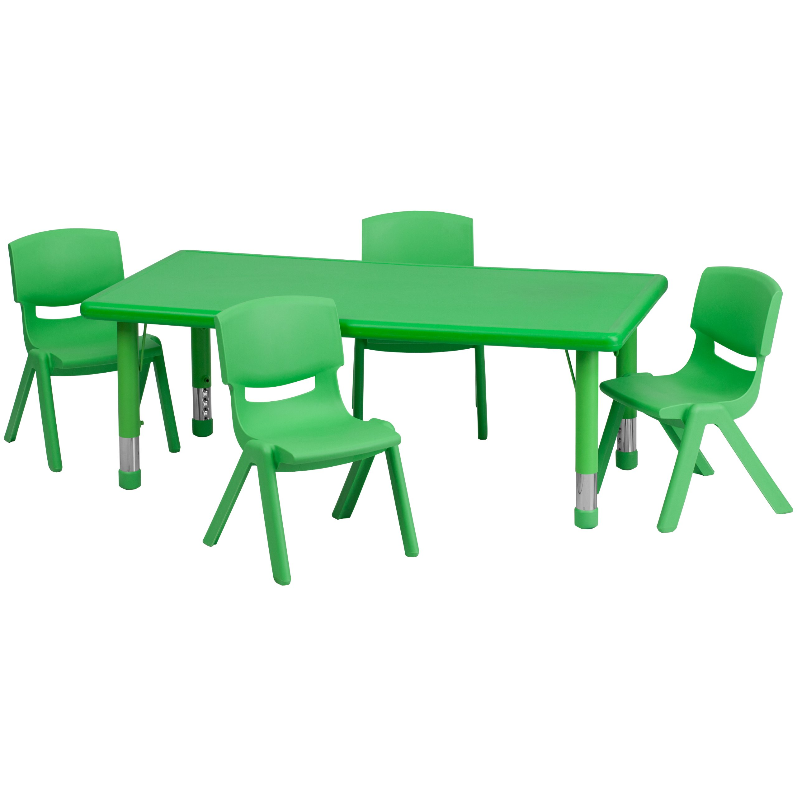 Flash Furniture 24''W x 48''L Rectangular Green Plastic Height Adjustable Activity Table Set with 4 Chairs