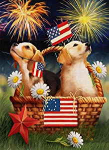 Covido Home Decorative July 4th Garden Flag, American Flag Patriotic House Yard Welcome Decor Dog Puppy Sign, Spring Summer Holiday Outside Decoration Seasonal Outdoor Small Flag Double Sided 12 x 18