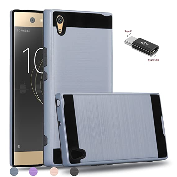 big sale 116ca 76549 Sony Xperia XA1 Ultra Case,Sony Xperia XA1 Ultra Dual Case With Micro USB  to Type c Adapter,Wtiaw [Brushed Metal Texture] Hybrid Dual Layer Defender  ...