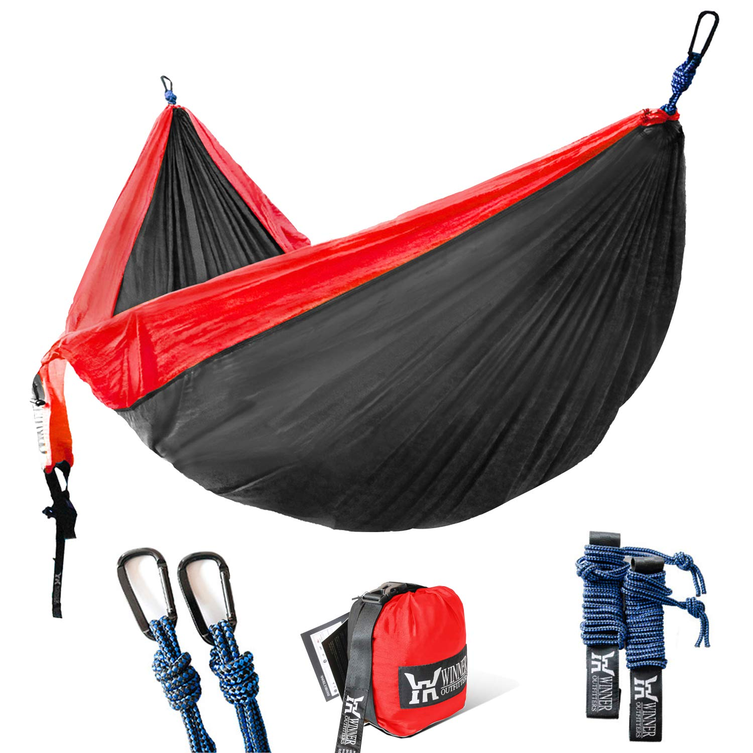 Winner Outfitters Double Camping Hammock - Lightweight Nylon Portable Hammock, Best Parachute Double Hammock For Backpacking, Camping, Travel, Beach, Yard. 118''(L) x 78''(W) Red/Charcoal