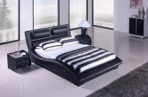 Napoli Modern Platform Bed-Black Queen