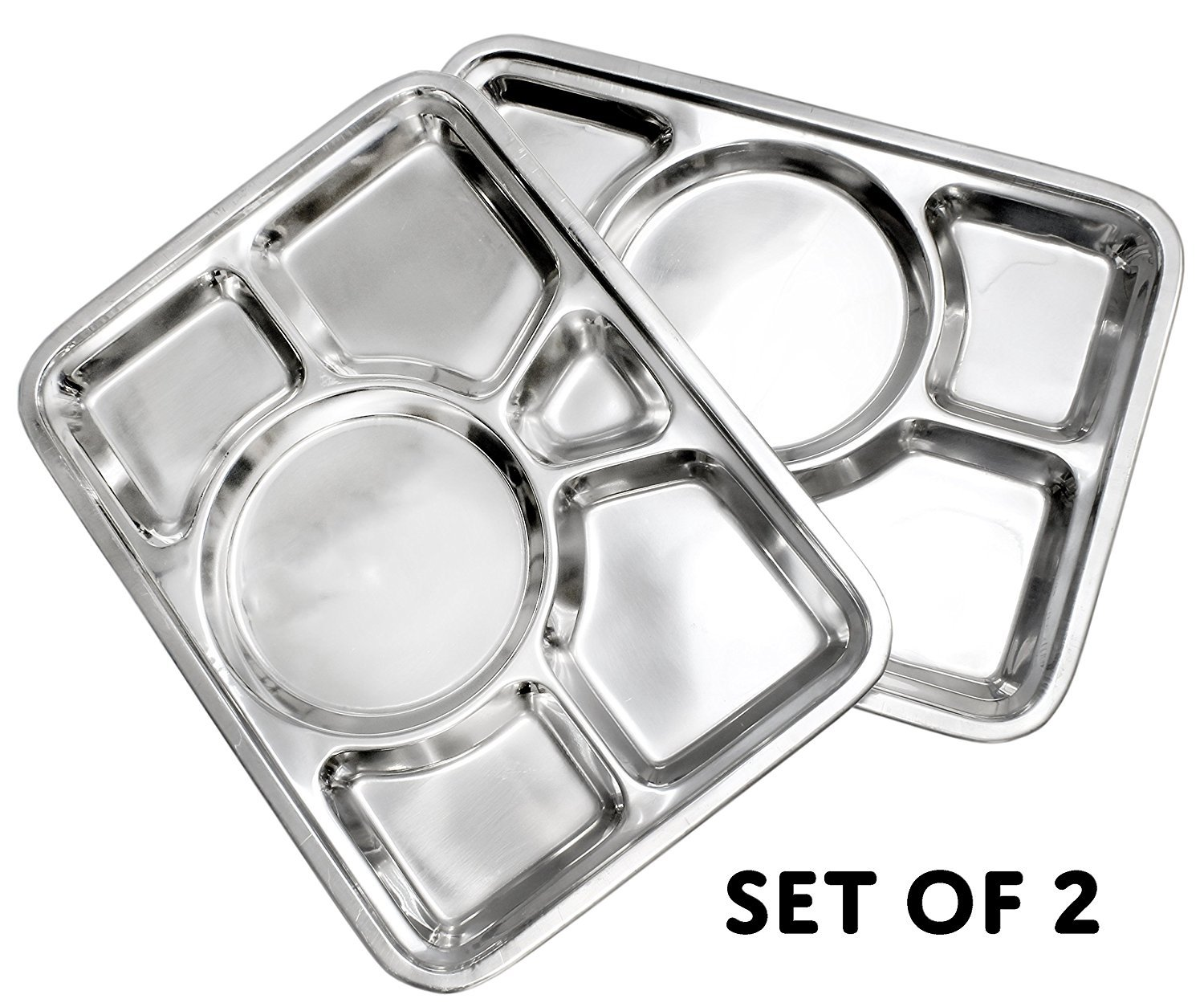 King International 100% Stainless Steel Six in one Dinner Plate Six sections divided plate Six section plate -Set of 2 Mess Trays Great for Camping, - 37 cm
