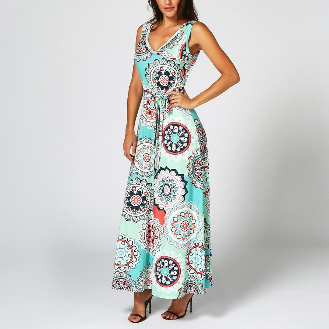 84fc91333e45 WYTong New Arrival, Womens Vintage Bohemian Printed Sleeveless V-Neck Maxi  Dress with Sashes at Amazon Women's Clothing store: