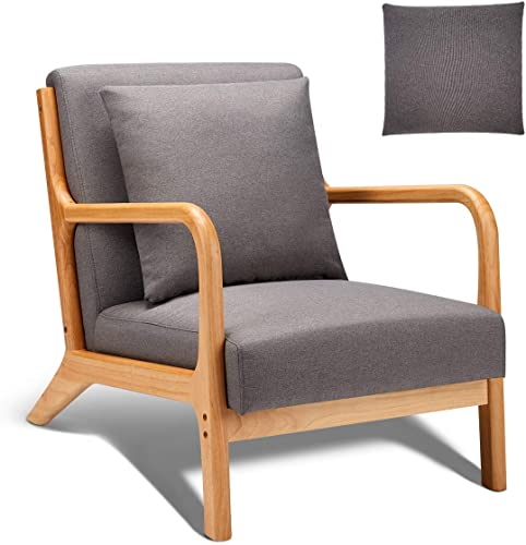 Esright Mid Century Accent Chair Wooden Modern Living Room Fabric Arm Chair
