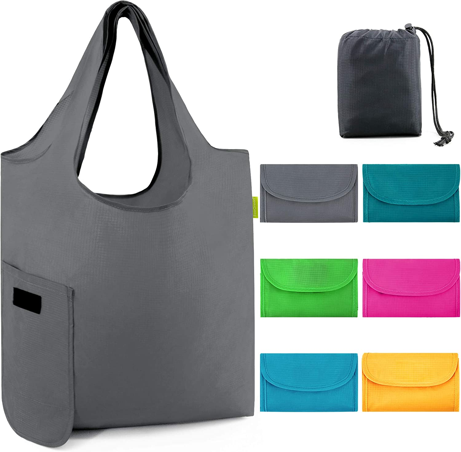 Grocery-Bags-Reusable-Shopping-Bag Foldable With Magic Tape 6 Pack Large 50LBS Easy Fold Tote Bags For Groceries Ripstop Fabric Washable Durable Lightweight