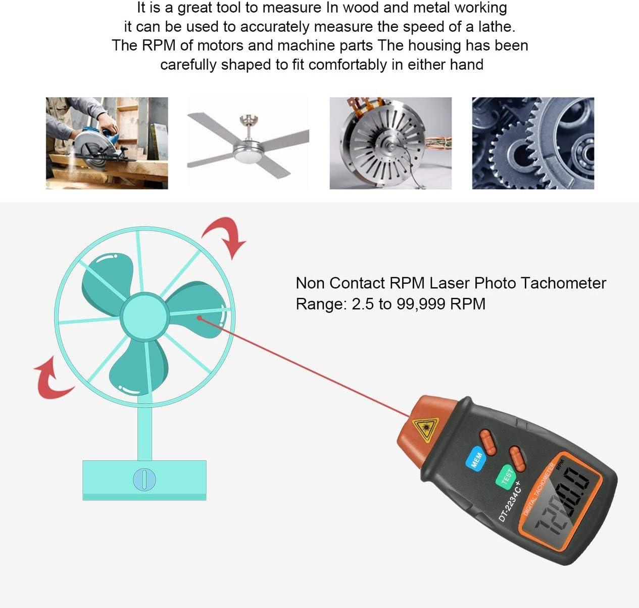 Tachym/ètre photo num/érique laser sans tachym/ètre TPM Tachym/ètre laser num/érique Compteur de vitesse Jauge de vitesse Moteur