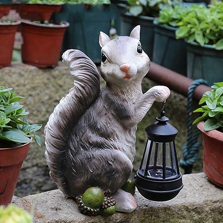 zenggp Solar Arbolado Ardilla Luz Decoración Ornamento Interior Exterior Jardín Patio Decoración Resina Animal,Grey: Amazon.es: Hogar