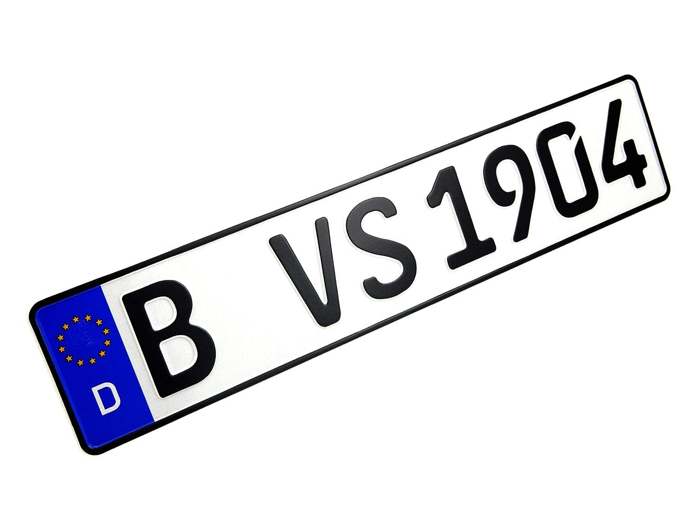 VooSale 1 DIN zertifiziertes Eurokennzeichen in der Standard-Gr/ö/ße 520mm x 110mm mit ihrer Wunschpr/ägung in Top Qualit/ät inklusive Einer Fahrzeugscheinh/ülle