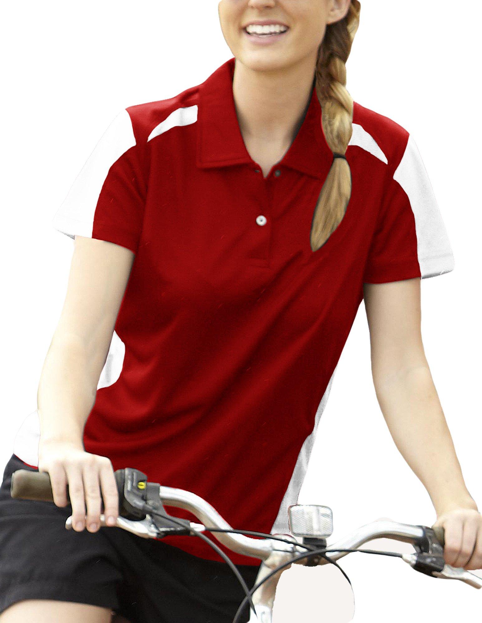 Pro Celebrity Women's Fierce Polo (2X-Large, Deep Red & White)