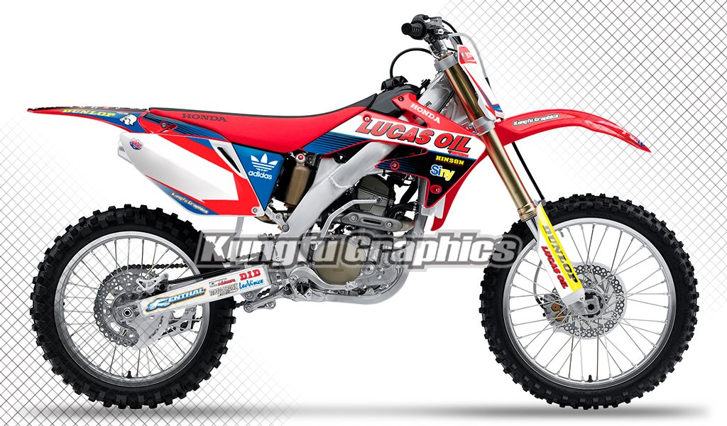 Kungfu Graphics Lucas Oil Custom Decal Kit for Honda CRF250R 2008 2009, Red Blue White