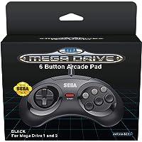 Retro-Bit Official SEGA Mega Drive Controller 6-Button Arcade Pad for Sega Mega Drive/Genesis - Original Port - Black