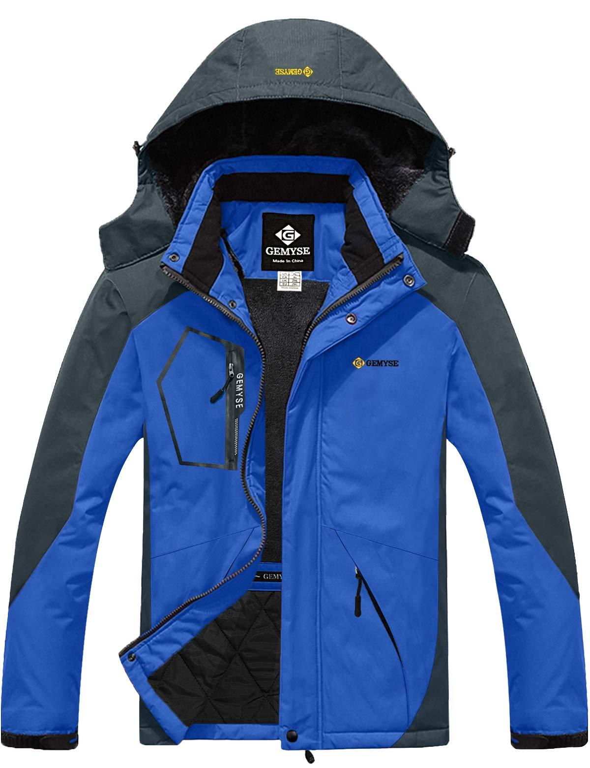 GEMYSE Men's Mountain Waterproof Ski Snow Jacket Winter Windproof Rain Jacket (Sky Blue,M) by GEMYSE