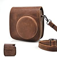 HelloHelio Classic Vintage PU Leather Compact Case with Strap for Fujifilm Instax Mini 9 / 8 / 8+ Instant Film Camera - Brown
