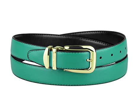 e7639650ed878 CONCITOR Reversible Wide Belt AQUA GREEN Turquoise Bonded Leather Gold-Tone  30