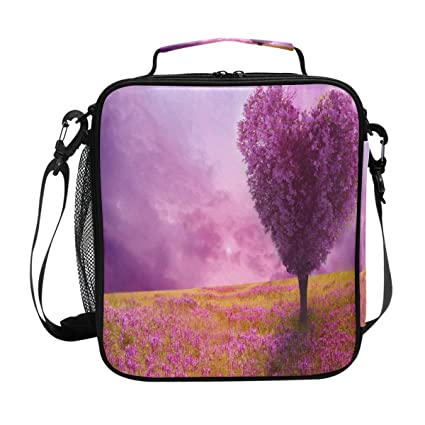 2ef49583182b Amazon.com: Purple Spring Heart Shaped Tree Lunch Bag Womens ...