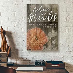Greatest Quote – Believe in Miracles Flower Butterfly, Poster Unframed Artwork Wall Art for Bedroom Kitchen Modern Plant Room Decor Inspirational Wall Decorations 11X17