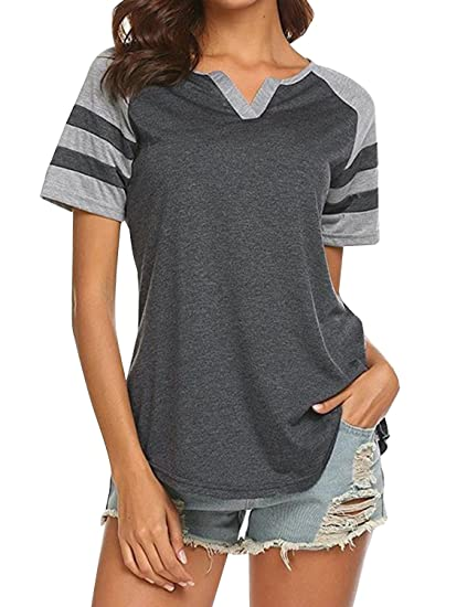 609ec734a1b Yidarton Womens Summer Casual V Neck T-Shirt Raglan Striped Baseball Shirt  Blouse Top (