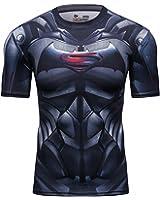 Red Plume Men's Film Super-Hero Series Compression Sports Shirt Skin Running Short Sleeve Tee