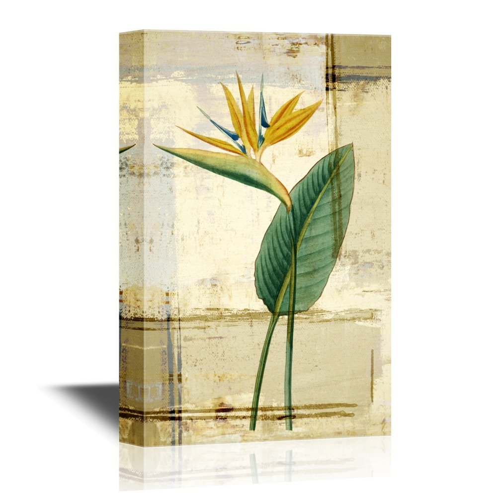 Leaf and Flower of Tropical Plant on Grunge Background - Canvas Art ...