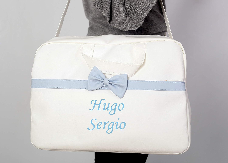 Regalo de un pack con dos baberos danielstore Bolso Blanco azul Bolso Personalizado Bebe Carrito Gemelar bebe con nombres bordados