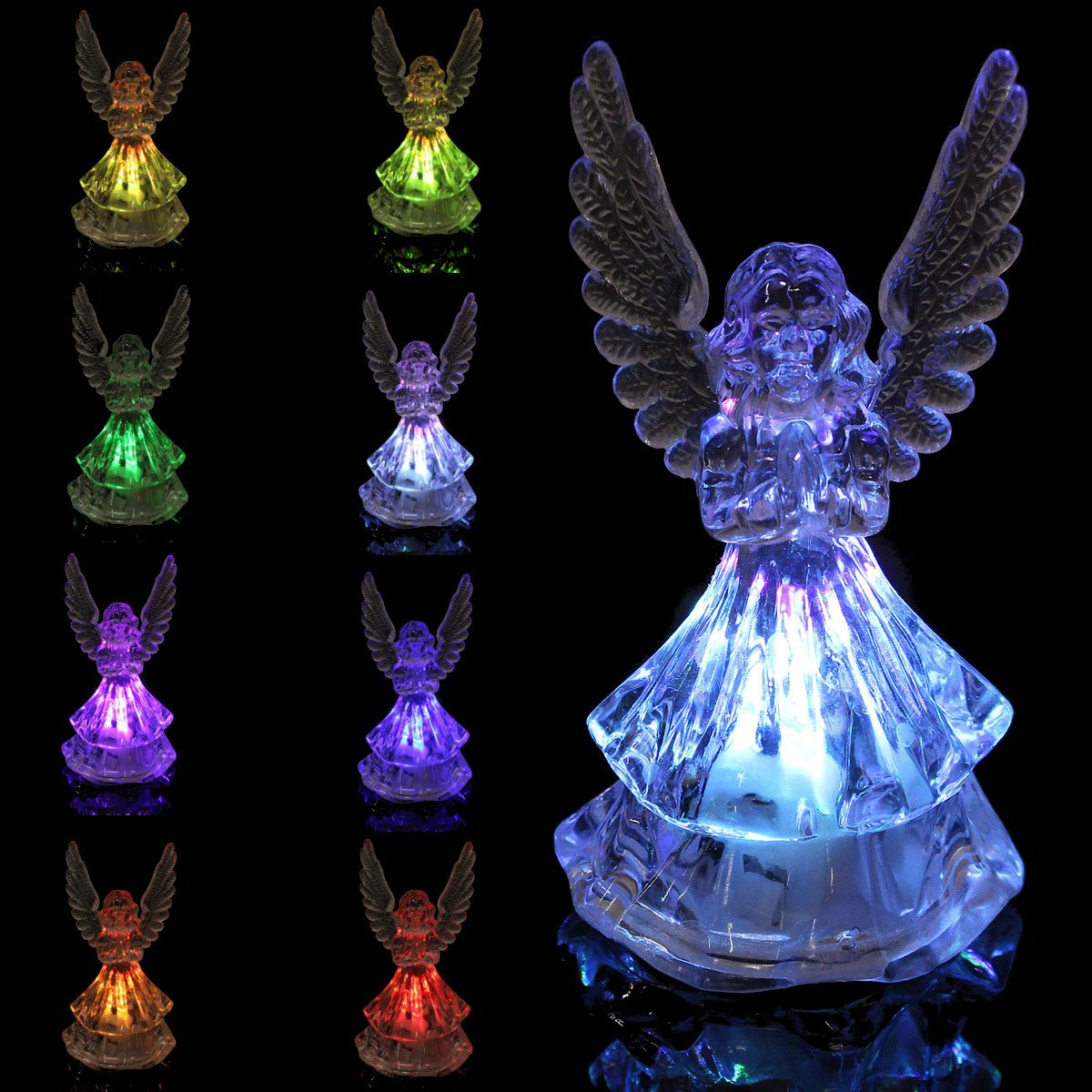 wuchance Changing Color Acrylic Color ICY Crystal Angel LED Light Lamp Home Decoration