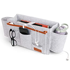 Large Felt Bedside Caddy Organizer | Heavy Duty Buckles Hold Up To 20 Lbs | Hanging Storage For Bed Rails, Dorms, Bunk Beds With Large Pockets | For Book, Phone, Remote | Dorm Room Accessories (Gray)