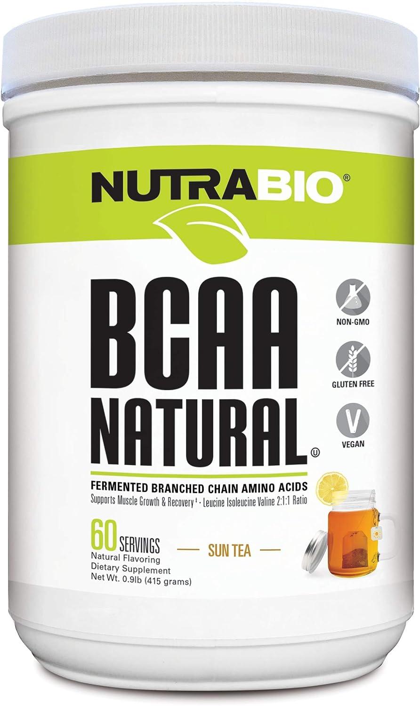 NutraBio BCAA Natural Powder – 60 Servings Sun Tea
