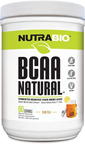 NutraBio BCAA Natural Powder – 60 Servings Sun Tea