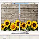 DYNH Sunflower Kitchen Curtain, Spring Flowers on Rustic Wood Plank Country Theme Window Curtain Panels, Waterproof…