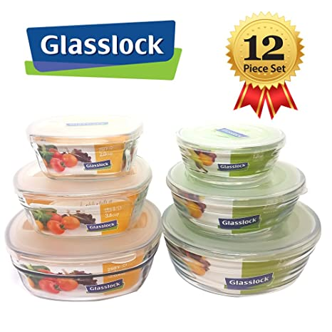 Glasslock Mix 12 Pcs Assorted Safety Tempered Glass Food Storage Container  With Hard Plastic Lids,