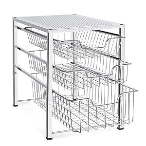 Bextsware Stackable Mesh Cabinet Basket Organizer with 3 Tier Wire Grid Sliding Drawer, Multi-Function Storage Organizer for Kitchen Counter, Desktop, Under Sink,Silver