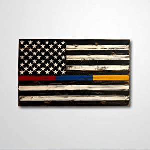 BYRON HOYLE Thin Red, Blue, Gold Line Flag Wood Sign,Wooden Wall Hanging Art,Inspirational Farmhouse Wall Plaque,Rustic Home Decor for Living Room,Nursery,Bedroom,Porch,Gallery Wall