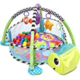 TAPCET Activity Gym & Ball Pit Baby Game Play Center Crawling Mat Development Station with 40 Balls & Hanging Toys for Infant