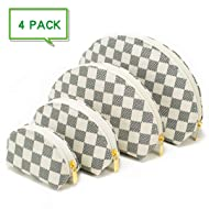 Luxury Checkered Make Up Bag Shell Shape Cosmetic Toiletry Travel Bags including 4 Size Bag (White)