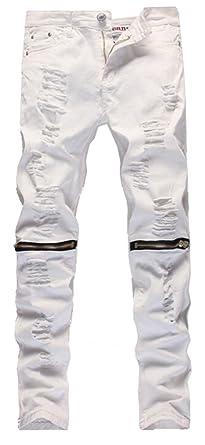 JIINN Herren Designer A Jeans Destroyed Hose Basic Stretch
