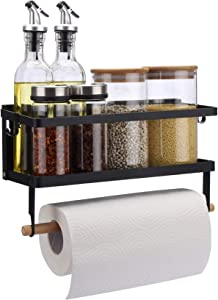 Magnetic Fridge Organizer, Paper Towel Holder, Kitchen Rack, Rustproof Spice Jars Rack, with 2 Removable Mobile Hooks (Black)