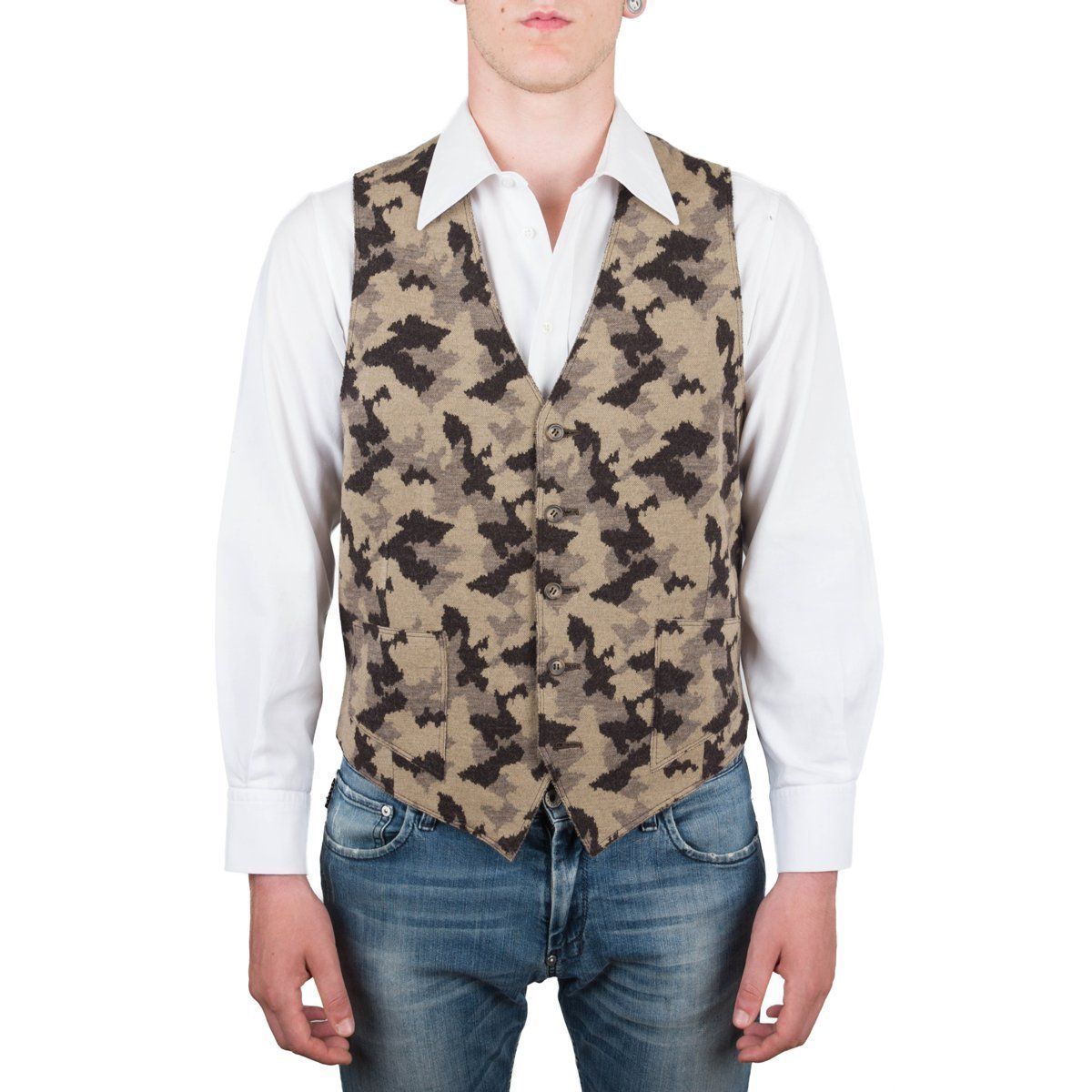 Vest, Gilet, Waistcoat, Knitwear, Men, Boy, Brown, Camel, Army, Camo, Camouflage, Wool, Buttons, Pockets, Casual, Sporty, Sleeveless, Slimfit, Italian Fabric, Italian Style, Made in Italy, Handmade