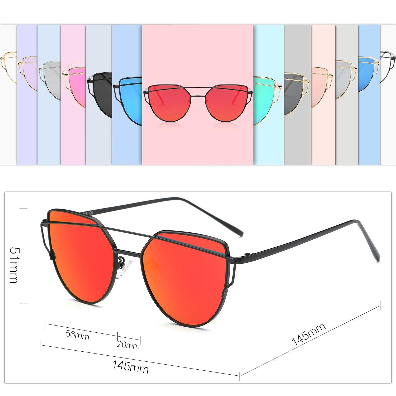 be7a2342ec270 SOJOS Cat Eye Mirrored Flat Lenses Street Fashion Metal Frame Women  Sunglasses SJ1001 with Black Frame Red Mirrored Lens - SJ1001C5   Sunglasses    Clothing