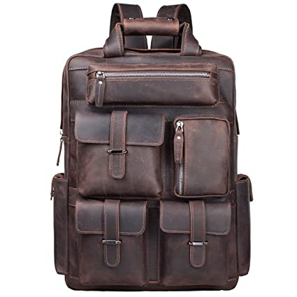 eca0231501b3 S-ZONE Mens Genuine Leather Handmade 17 inch Laptop Backpack Rucksack Multi  Pockets Travel Sports Bag (A-Dark Brown)  Amazon.co.uk  Luggage