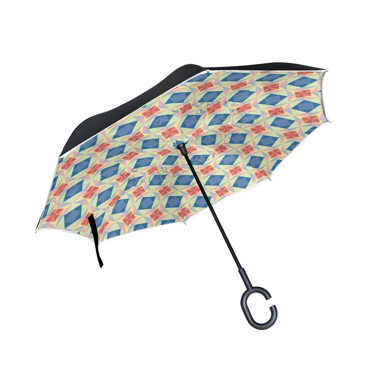 COOSUN Sin fisuras vector de la estrella del patrón de la capa doble del paraguas invertido inversa para el coche y el uso al aire libre a prueba de viento ...