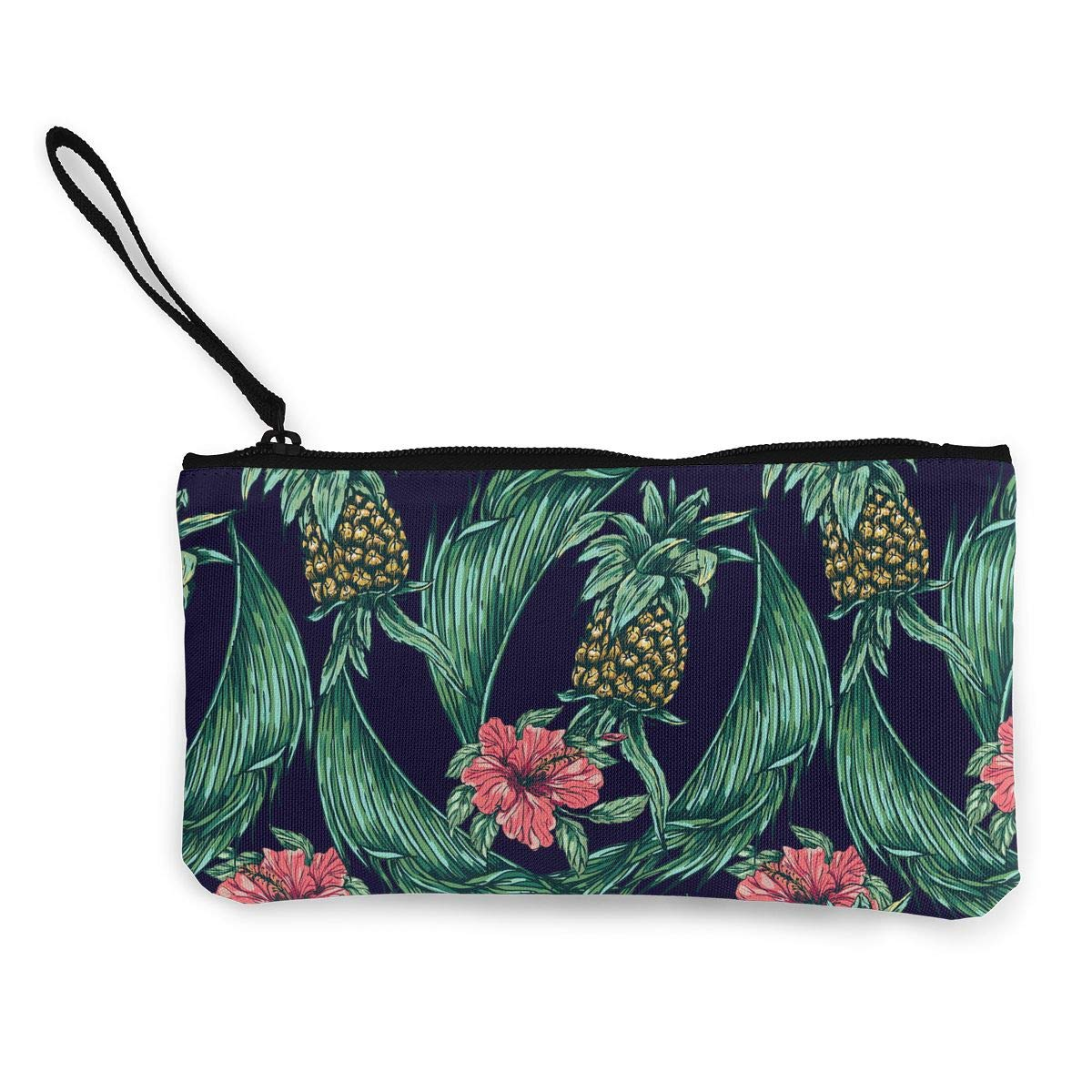 Pineapple Flowers Pattern Canvas Makeup Bag with Zipper for Women Bk55Oi/&/& Womens Fashion Purse