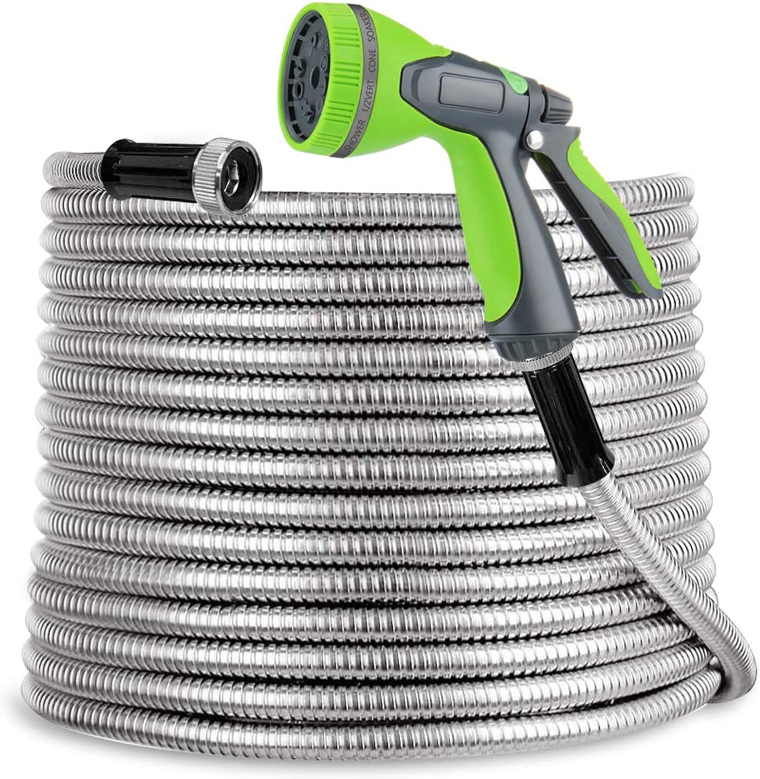 SweetSpace Metal Garden Hose 100ft 304 Stainless Steel with 10 Pattern Spray Nozzle for Kink Free&Tangle Free, Flexible Water Hose, Lightweight and Durable