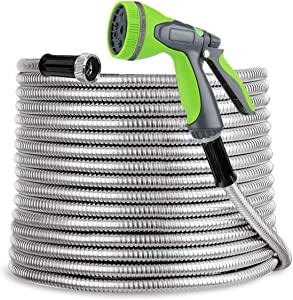 SweetSpace Metal Garden Hose 50ft 304 Stainless Steel with 10 Pattern Spray Nozzle for Kink Free&Tangle Free, Flexible Water Hose, Lightweight and Durable